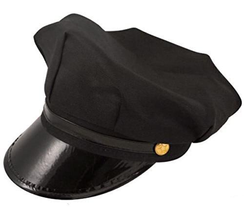 Men's Chauffeur Hat Limo Driver Black Peaked Cap Fancy Dress Costume (Black) (Chauffeur Fancy Dress Kostüm)