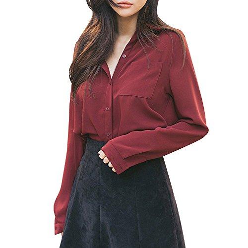 Fghyh Damen Sweatshirt Langarm ShirtFrauen-Feste Lange Hülsen-Knopf-lose Formale Büroarbeits-Hemd-Spitzenbluse(XL, rot) - Frauen Für Billig Formale Kleider