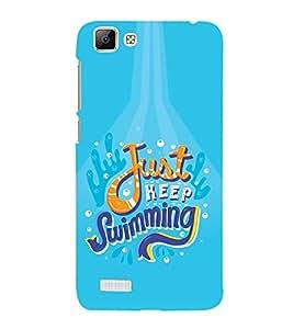 FUSON Just Keep Swimming 3D Hard Polycarbonate Designer Back Case Cover for Vivo V1