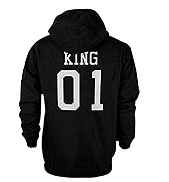 "Qissy® Amants Pull Sweatshirt ""King"", ""Queen"" Lettre Imprimer Hoodies Blouse Pulls chemise Casual Tee Shirt Tops (S, KING)"