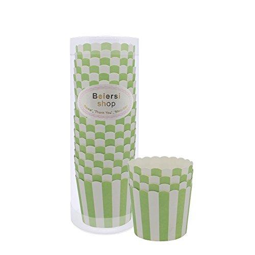 ierkuchen Liner Tasse Cupcake Muffin Backen Baking Cup 20 Stücke (Grüne Streifen) (Grüne Cupcake-liner)