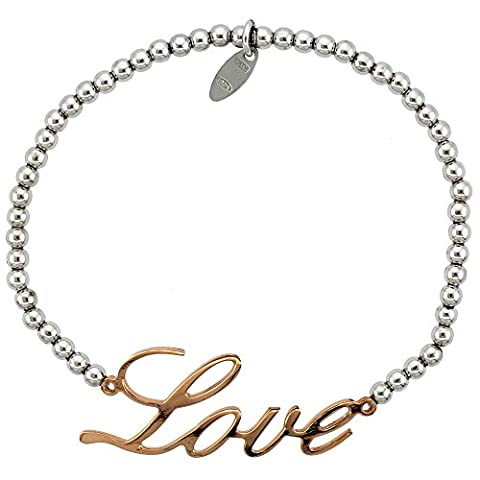 Revoni Sterling Silber 7in. Ball Bead Link Armband w/Rose Gold Finish Love Teller, 5/8in. (16mm) (Fashion Stretchable Armband)