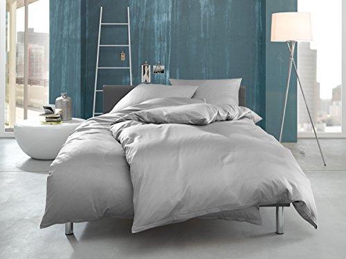 Bettwäsche Jersey (Bettwaesche-mit-Stil Mako Interlock Jersey Bettwäsche Garnitur uni/enfarbig 100% Baumwolle (135 cm x 200 cm + 80 x 80 cm, Grau))