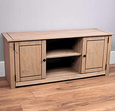 Vida Designs Panama Solid Pine Entertainment Furniture 2-Door 1-Shelf Flat Screen TV Unit