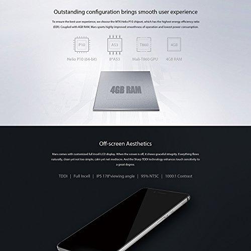Vernee Mars 4G LTE - Smartphone Android 6 0  Octa Core 5 0  FHD 4GB RAM 32GB ROM 13MP C  mara Huellas Dactilares de Mmontaje Lateral  1080P V  deo OTG