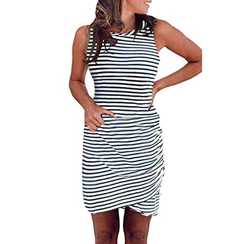 Rock-Verkauf Kleid Damen Sommer Elegant Sling Party Dress Cocktail Damen Sommermode ÄRmellos Rundhals Enges T Shirt Kurz Gestreiftes Kleid Weiß S
