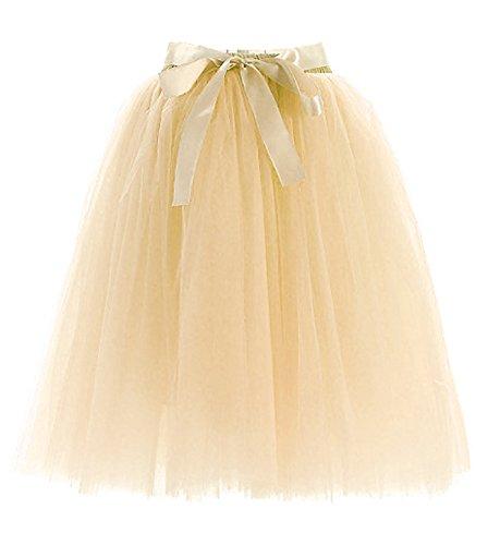 Facent Donna Tutu Gonna Di Tulle SotoGonna Balletto di Danza Principessa Festa Gonna Beige
