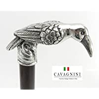 CAVAGNINI Walking Sticks and Canes Gift Custom. in Color (Black/Brown), Lenght (until 38 inches), Rubber Tips/Ferrules, Engrave. Crow Exotic Handle Pewter Wooden Elegance for Women or Men.From Italy