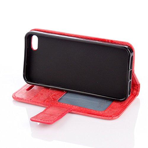 EKINHUI Case Cover Für IPhone 5 & 5s & SE Fall, Mandala Blume geprägtes Muster Schutzhülle Premium PU Leder Folio Flip Stand Brieftasche Case Pouch mit Lanyard & Halter & Card Cash Slots ( Color : Pur Red