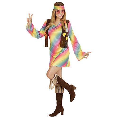 WIDMANN 73351–Adultos Disfraz hippie Mujer, vestido, angenähte Chaleco, pelo banda, Arco Iris, tamaño S