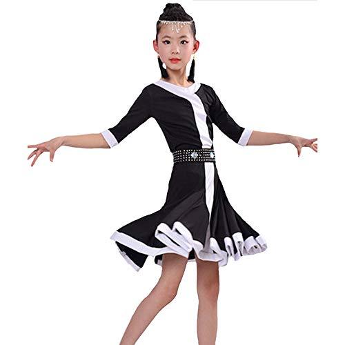 HUO FEI NIAO Tanz Kostüme - Kinder Latein Tanz Kleid Sommer Kinder Latein Praxis Kleidung Weiß Kurzarm Mädchen Performance Wettbewerb Einteiler Tanzkleid (Farbe : Schwarz, größe : 160cm)