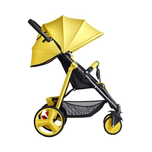 Sillas de paseo Cochecito De Bebé Ultra Ligero Portátil Plegable Carrito Multifunción Bebé Niño Empujar Bolsillo Paraguas Respaldo Libre Ajuste 4 Colores (Color : Amarillo)