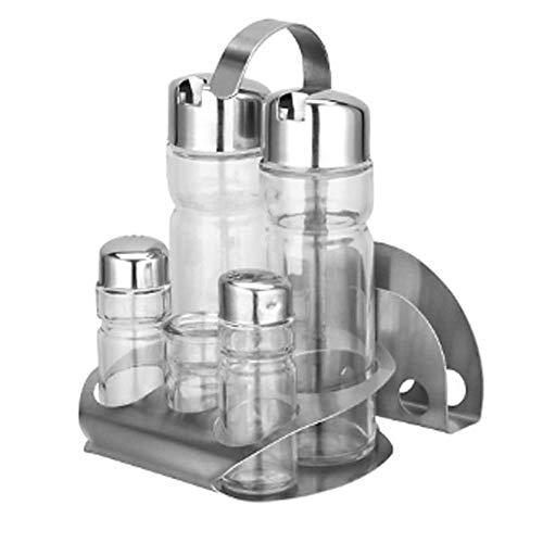 Cldgf set di bottiglie per condimenti, dispenser per olio, scatola per tessuti, stuzzicadenti, adatti per sale, pepe, aceto e olio (con supporto) argento/trasparente