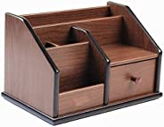 Lian Wooden desk organizer with Drawer,Multifunctional Office & Home Storage Organizer as Large pencil hol
