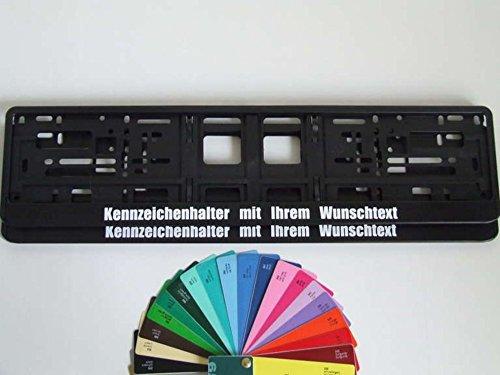 2 Stück Kennzeichenhalter Schwarz mit Wunschtext Beschriftung Werbung