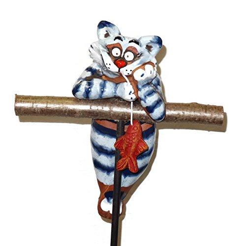 Katze Gartenkugel Gartenstecker Blumenstecker Keramik Frostfest (Figur Katze Glasiert Keramik)