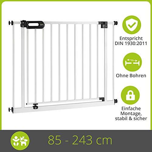 BOMI Treppengitter für Kinder 85-243 | Zum Klemmen | 90° Stop | Schließt automatisch | Kinderschutzgitter weiss öffnet in beide Richtungen | Tür- & Treppenschutzgitter