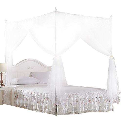Aufee Moskitonetz, Vier-Eck-Baldachin Bettwäsche Net Polyester Net 3 Seitenöffnungen Design Hängenetz Kit Verwenden Sie für Schlafzimmer(L) - Weißen Baldachin Kit