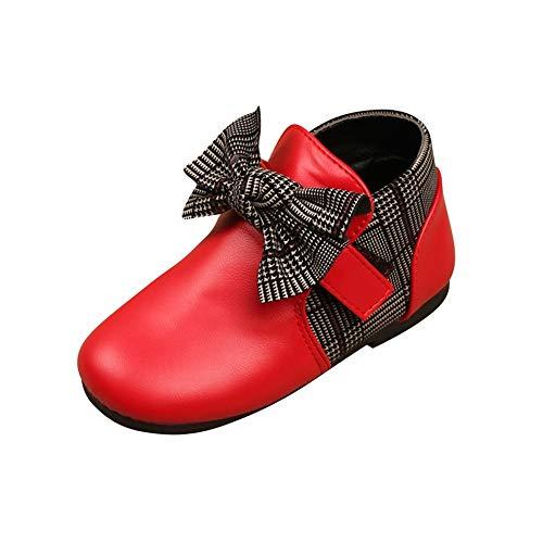 Enfant Bottes Bottines Automne et Hiver Chaussures Fille Bébé Bottes en Cuir Antidérapant Sole Souple Bottines avec Noeud