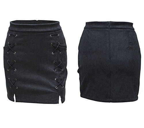 Minetom Donne Elegante Scamosciato Slim Mini Gonna Estate Primavera Breve Vestito Sexy A-Line Gonne Partito Club Nero