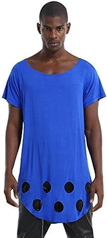 Pizoff Homme Hip Hop Design T-shirt ultra long P3133-blue-M