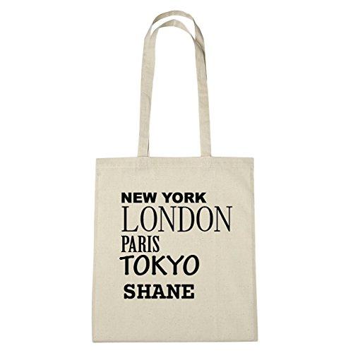 JOllify Shane Borsa di cotone b5919 schwarz: New York, London, Paris, Tokyo natur: New York, London, Paris, Tokyo