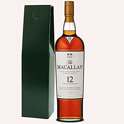 The Macallan Sherry Oak 12 Year Old Single Malt Whisky 70cl Bottle in Green Gift Bottle Box with Hand Crafted Gifts2Drink Tag