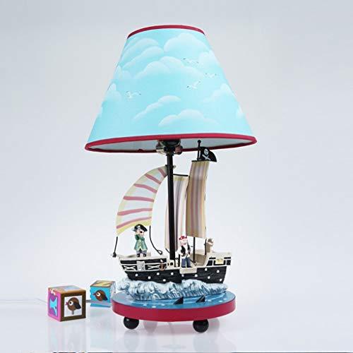 XYJGWSTD Piratenschiff Tischlampe Mittelmeer Schlafzimmer Nachttischlampe Junge Kreative Babys Warm Niedlichen Cartoon Dimmbare Lichter