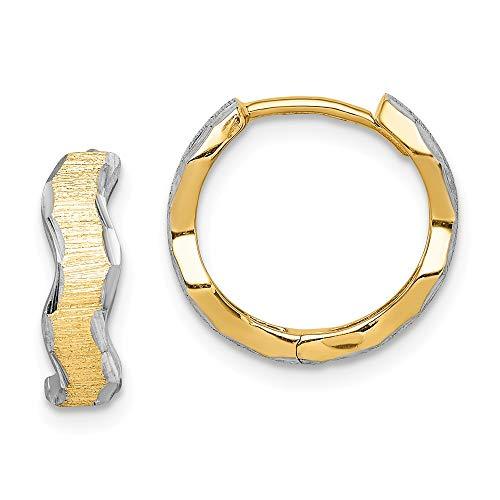 14K Yellow Gold With White Rhodium Diamond-Cut Texture Wave Hoop Earrings (14k White Gold Huggies-ohrringe)