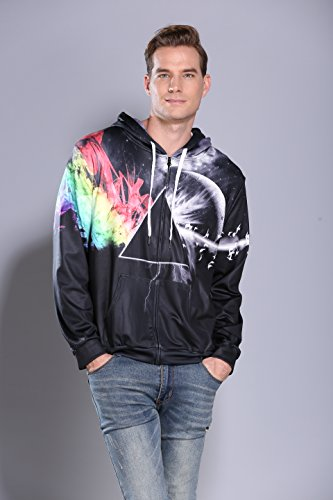Sankill Zip Hoodie Herren Kapuzenpullover Galaxy Bunte HD 3D bedruckte Pullover Unisex Harajuku Langarm Sweatshirt Kapuzenjacke Mantel triangle
