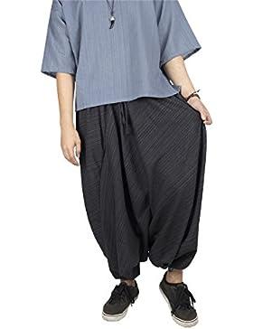 Lofbaz Donna A strisce Cotone Far Cadere Forcella Coulisse Harem Pantaloni