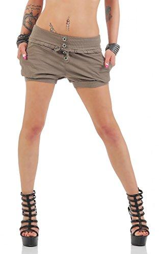 Damen Hotpants Shorts Kurze Hose Chino Bermuda Pants in angesagten Farben ( 506 ), Grösse:36, Farbe:Braun (Relaxed Fit Shorts)