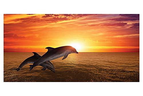 LimeWorks Badetuch, 70x140 cm, Motiv Delfine im Sonnenuntergang, Baumwolle/Mikrofaser, Made in EU
