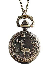 Maybesky Collar de Reloj de Bolsillo de Cuarzo de Estilo Antiguo Collar de Cadena Largo de Kaychain Vintage Caja de Regalo para cumpleaños Aniversario día Nav