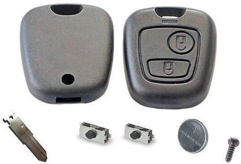 Peugeot diy-reparatur-set - Ersatz 2 Knopf Fernbedienung Auto Schlüsselanhänger Gehäuse mit Klinge,Akku und Mikroschalter für 106 206 306 406 107 207 307 407 Schlüssel Anhänger für - Schwarz