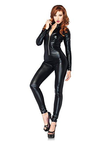 (SHIQUNC Womens Black Wet Look Cut Out Choker Jumpsuit Catsuit Romper Bodysuit Clubwear Fancy Dress Costume, M)