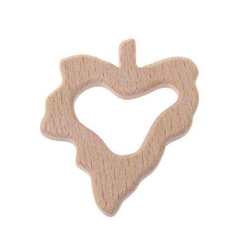 Jiamins Ahornblatt Baby Holz Beißringe Schnuller für Jungen Mädchen,BPA freies Baby Spielzeug