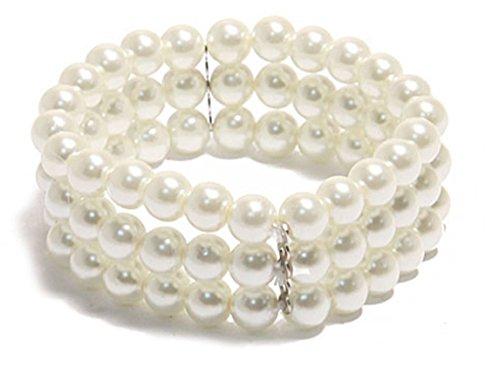Braccialetto da donna fantasia con tre giri di perle bianche