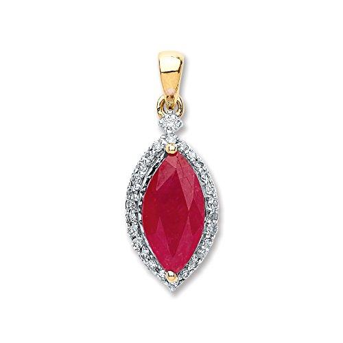 JQS - 9ct oro amarillo 0.10ct del diamante 1.00ct cuchufleta rojo rubí colgante con 45,72 cm cadena