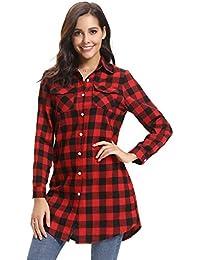309759f36e0b45 Abollria Camicia Donna di Flanella a Quadri Classici Bluse Casual a Maniche  Lunghe Stile di Boyfriend