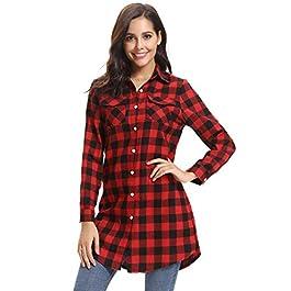 4c1bb97f6f41 Abollria Camicia Donna di Flanella a Quadri Classici Bluse Casual a Maniche  Lunghe Stile di Boyfriend ...