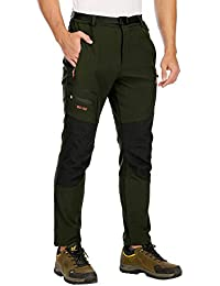 DAFENP Pantalones Trekking Hombre Impermeable Pantalones de Escalada Senderismo Alpinismo Invierno Polar Forrado Aire Libre KZ1662M-ArmyGreen1-M