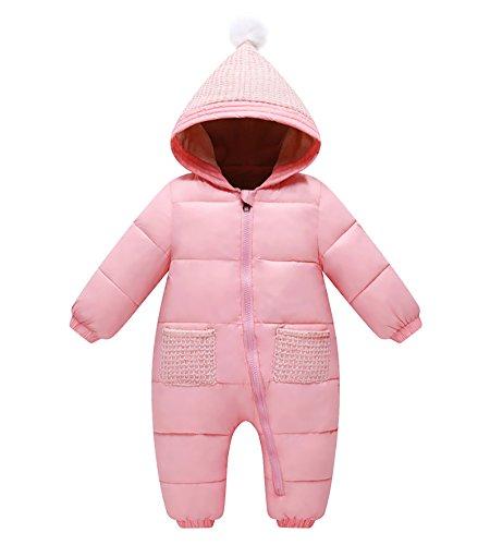 MISSMAO Bebé Niña Niño Traje de Nieve con Capucha Invierno Peleles Grueso Monos Calentador de Cuerpo Rosa Claro 100