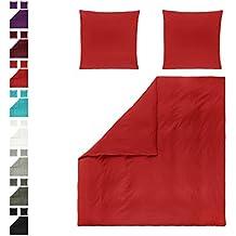 Niceprice Renforcé lenzuola 100% cotone con cerniera in molti colori SET di pezzi 200X 200+ 2x 80x 80cm, Cotone, Rot, 200 x 200 cm
