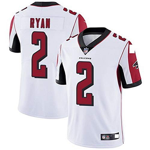 NFL Football Jersey Training Jersey Falcon 2# Ryan T-Shirt Jersey Bequem und Atmungsaktiv Trikot,White,S