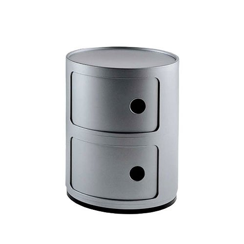 Kartell+4966SI+Mobiletto+Container+Componibili,+colore:+Argento