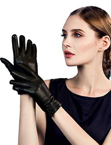 266722dac YISEVEN Women's Touchscreen Lambskin Dress Leather Gloves Buttoned Cuff  Wool Lined Luxury Stylish Elegant Warm Fleece