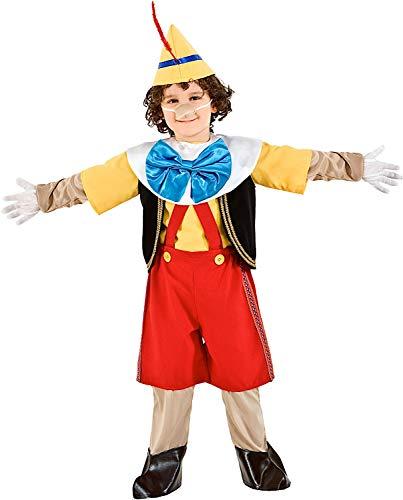 COSTUME di CARNEVALE da BURATTINO DI PINOCCHIO vestito per bambino ragazzo 1-6 Anni travestimento veneziano halloween cosplay festa party 5947 Taglia 5