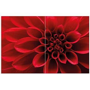 Rote Dahlienblüte Wallario Herdabdeckplatte 2-teilig aus Glas 80x52cm