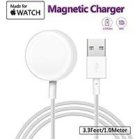 Charger para Apple Watch , MASOMRUM cargador inalámbrico portátil de 1 m para iWatch con cargador magnético certificado MFI para Apple Watch Series 1/2/3/Nike +/Edition/Hermès en 38 mm y 42 mm …